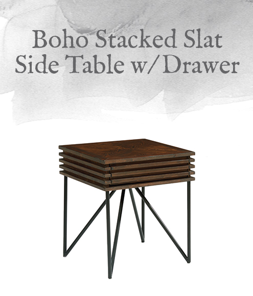 Boho Stacked Slat Side Table with Drawer
