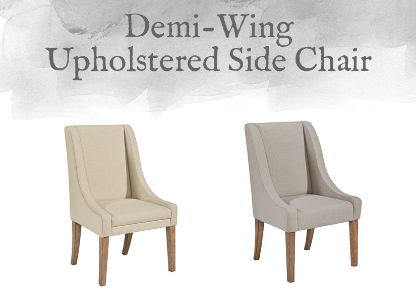 French-Inspired Demi-Wing Upholstered Side Chair