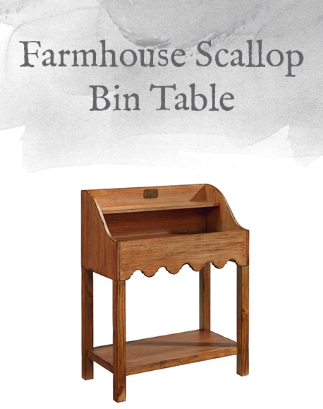 Farmhouse Scallop Bin Table