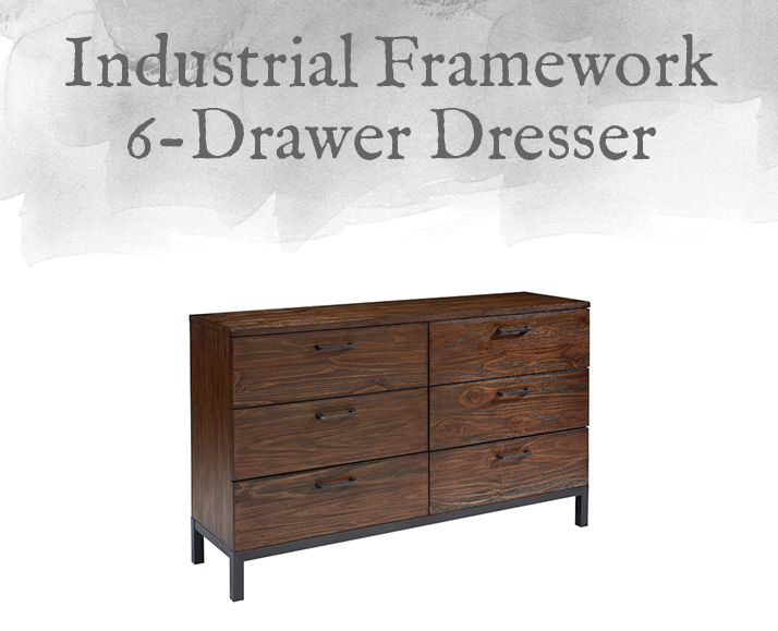 Industrial Framework 6-Drawer Dresser