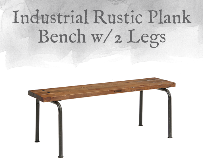 Industrial Rustic Plank Bench with 2 Legs