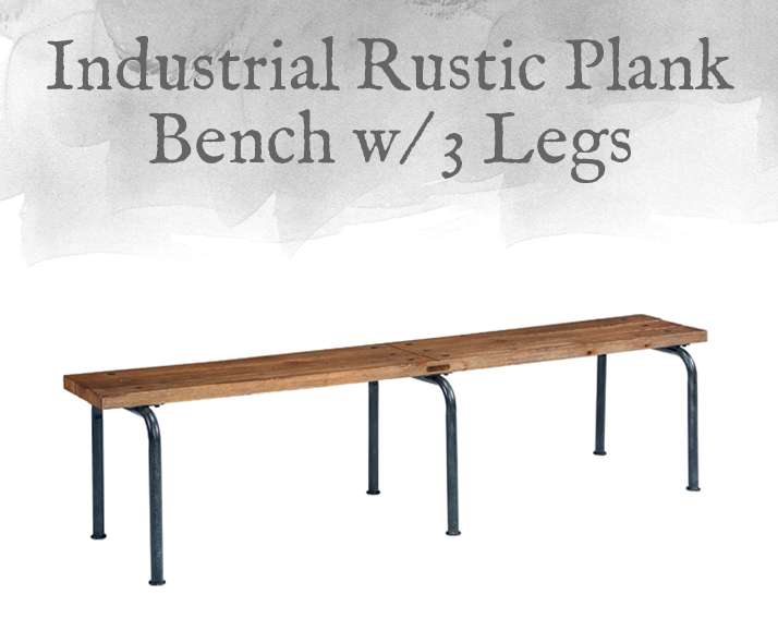 Industrial Rustic Plank Bench with 3 Legs