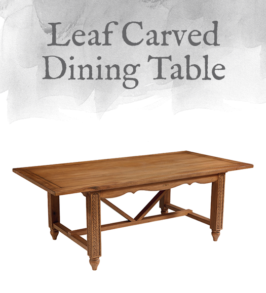 French-Inspired Leaf Carved Dining Table
