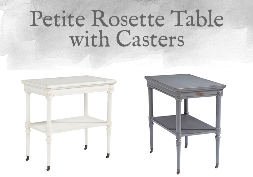 French-Inspired Petite Rosette Table with Casters