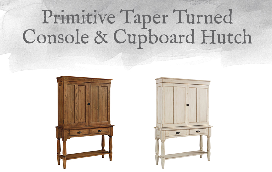 Primitive Taper Turned Console & Cupboard Hutch