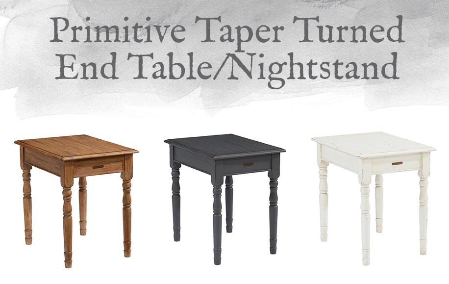 Primitive Taper Turned End Table or Nightstand