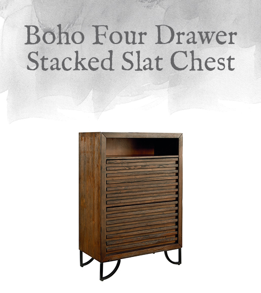 Boho Four Drawer Stacked Slat Chest
