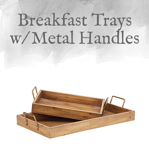 Breakfast Trays with Metal Handles