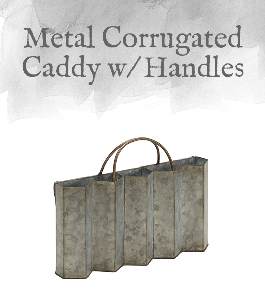 Metal Corrugated Caddy with Handles