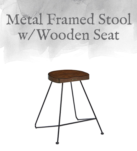 Metal Framed Stool with Wooden Seat