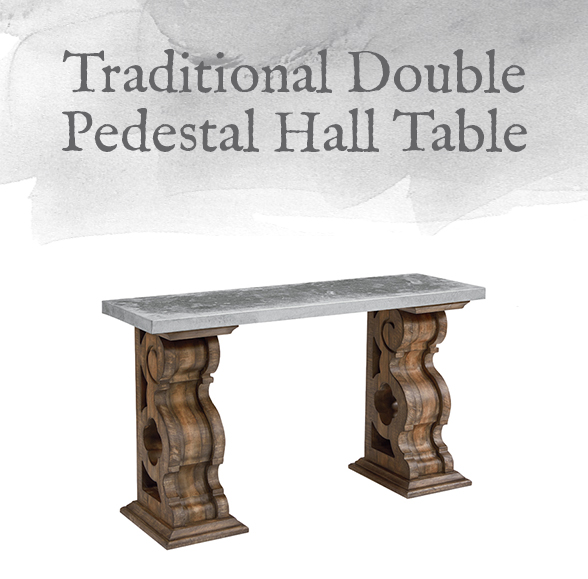 Traditional Double Pedestal Hall Table