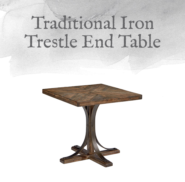 Traditional Iron Trestle End Table