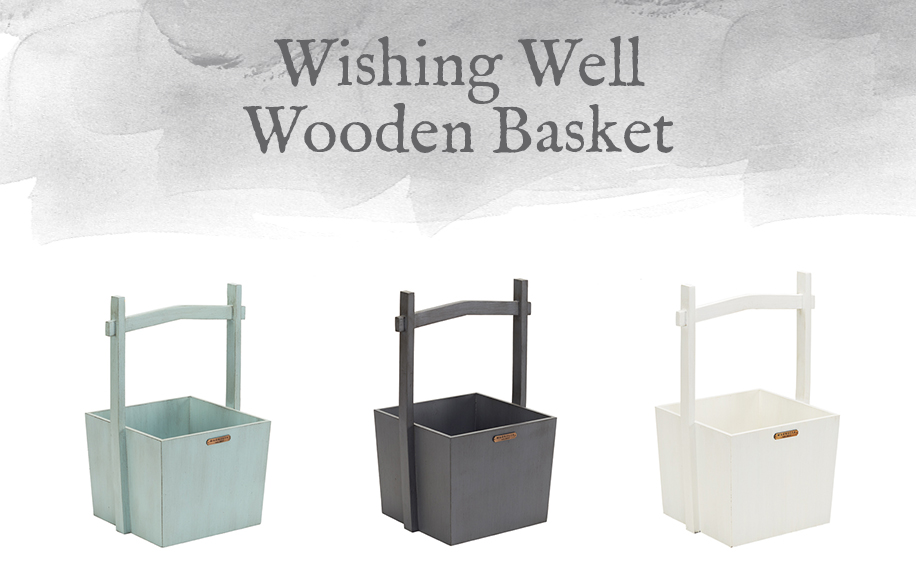 Wishing Well Wooden Basket
