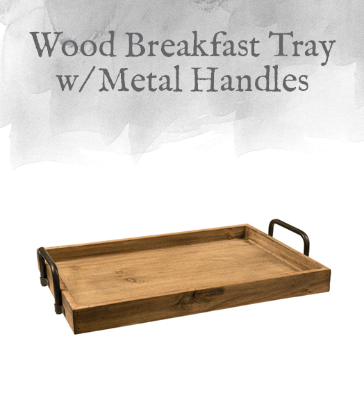Wood Breakfast Tray with Metal Handles