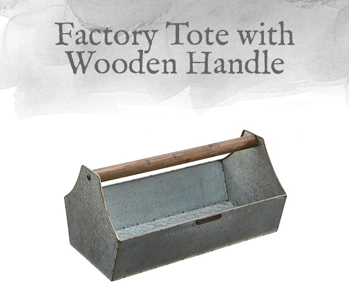Factory Tote with Wooden Handle