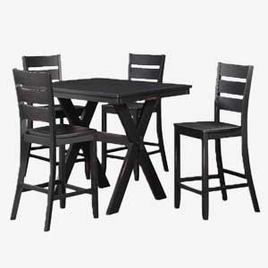 Costa Counter Height Table and Stool Set with Distressed Black Finish